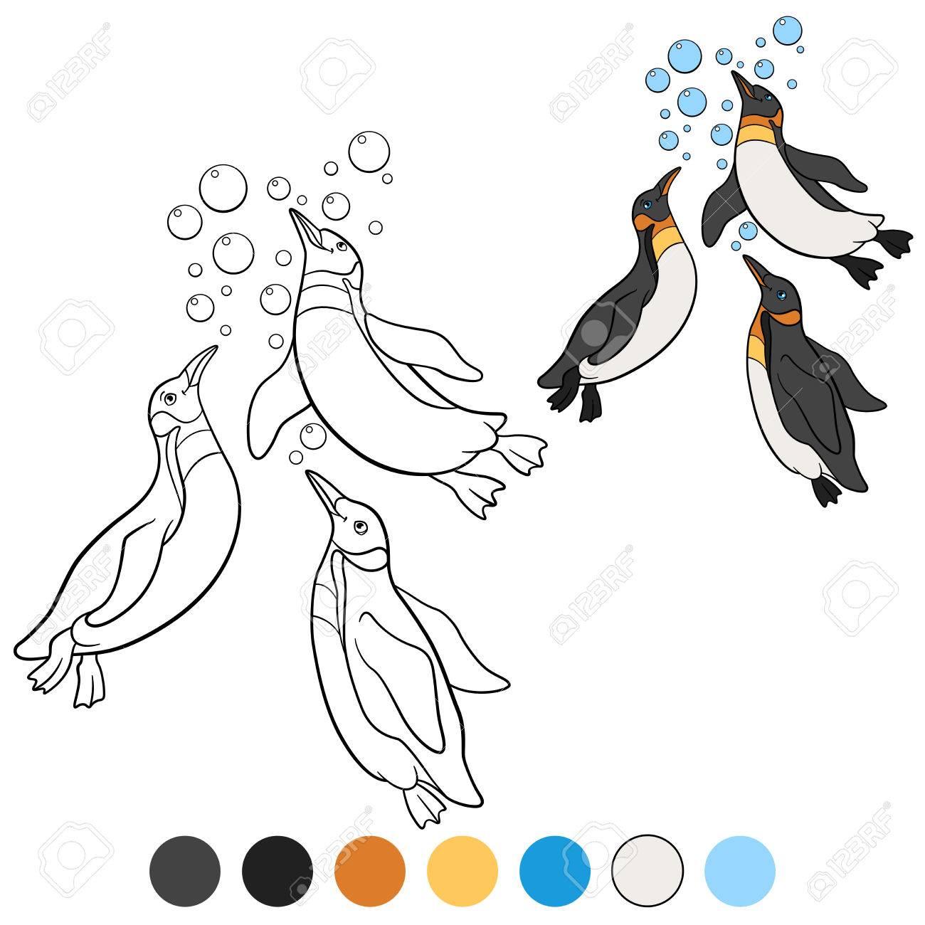 Kleurplaten Drie Kleine Schattige Pinguins Zwemmen En Glimlach
