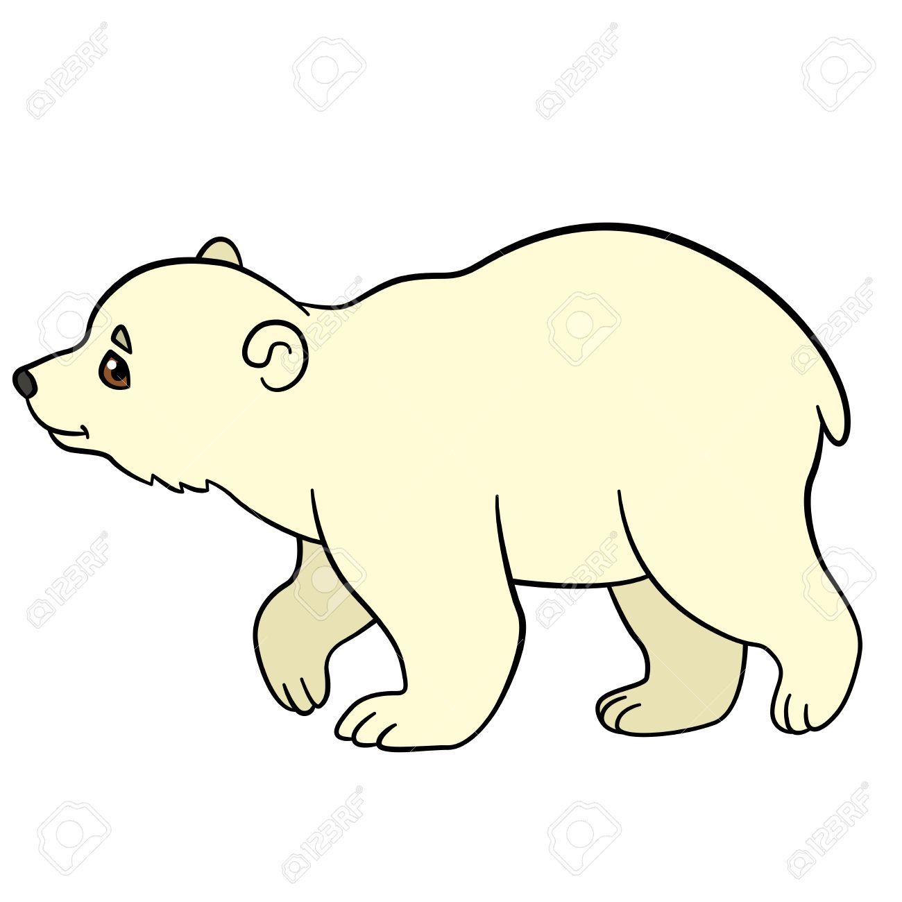Cartoon-Tiere. Kleine Süße Baby-Eisbär Geht Und Lächelt. Lizenzfrei ...