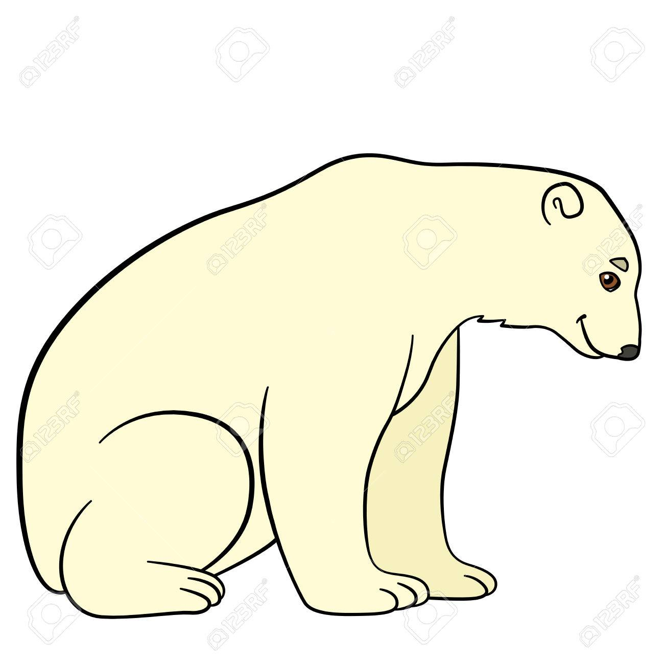 Cartoon Animals Cute Polar Bear Sits And Smiles Royalty Free Cliparts Vectors And Stock Illustration Image 63023941