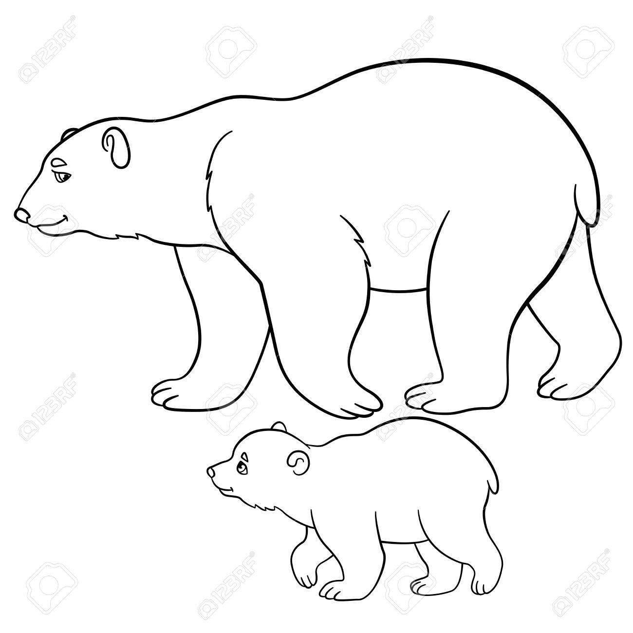 Coloriage Mère Ours Polaire Se Promène Avec Son Petit Bébé Et Sourires Mignon