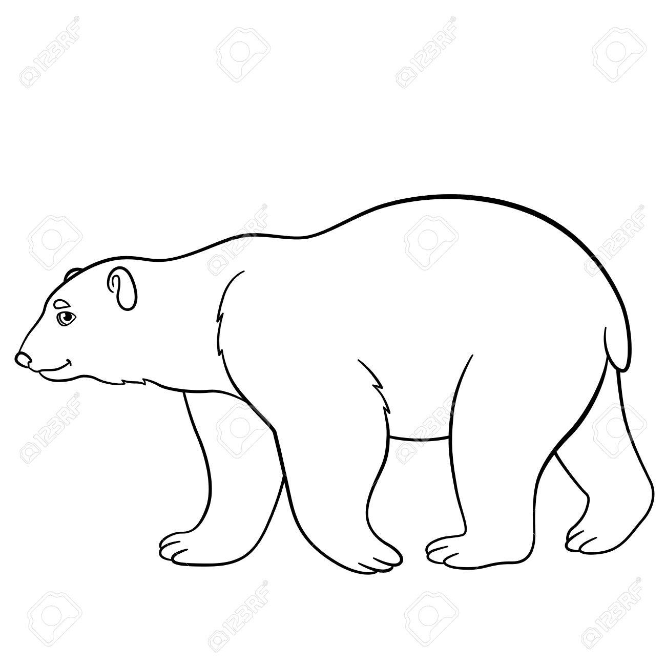Coloring Pages. Cute Polar Bear Walks And Smiles. Royalty Free ...
