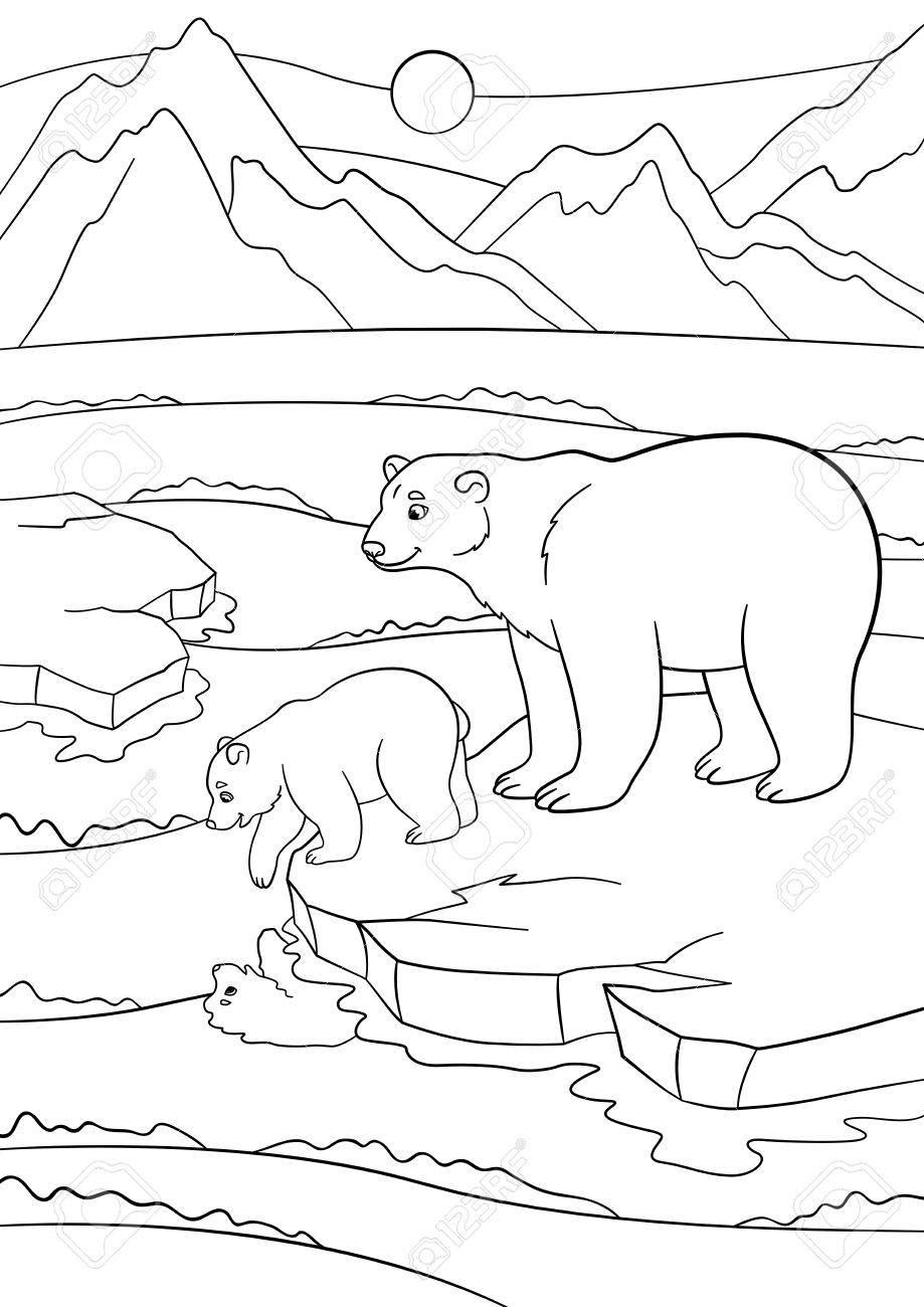 Malvorlagen. Mutter Eisbär Steht Auf Der Eisscholle Mit Ihrem ...