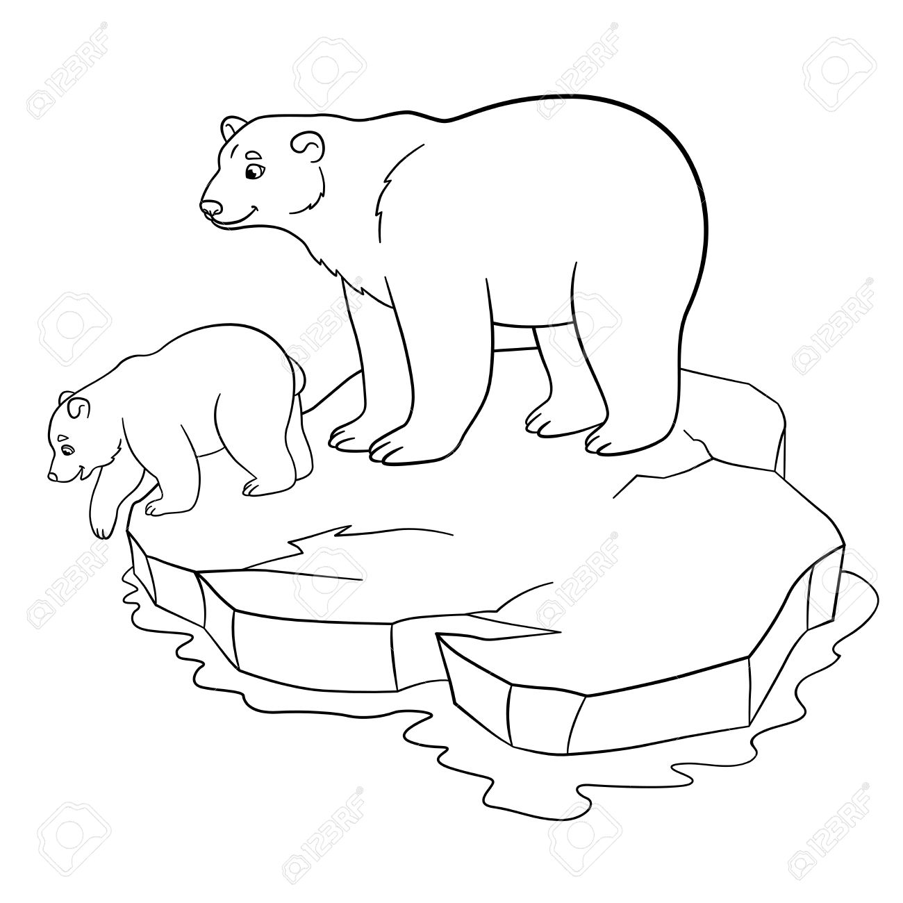 Coloring Pages Mother Polar Bear Stands On The Icefloe With