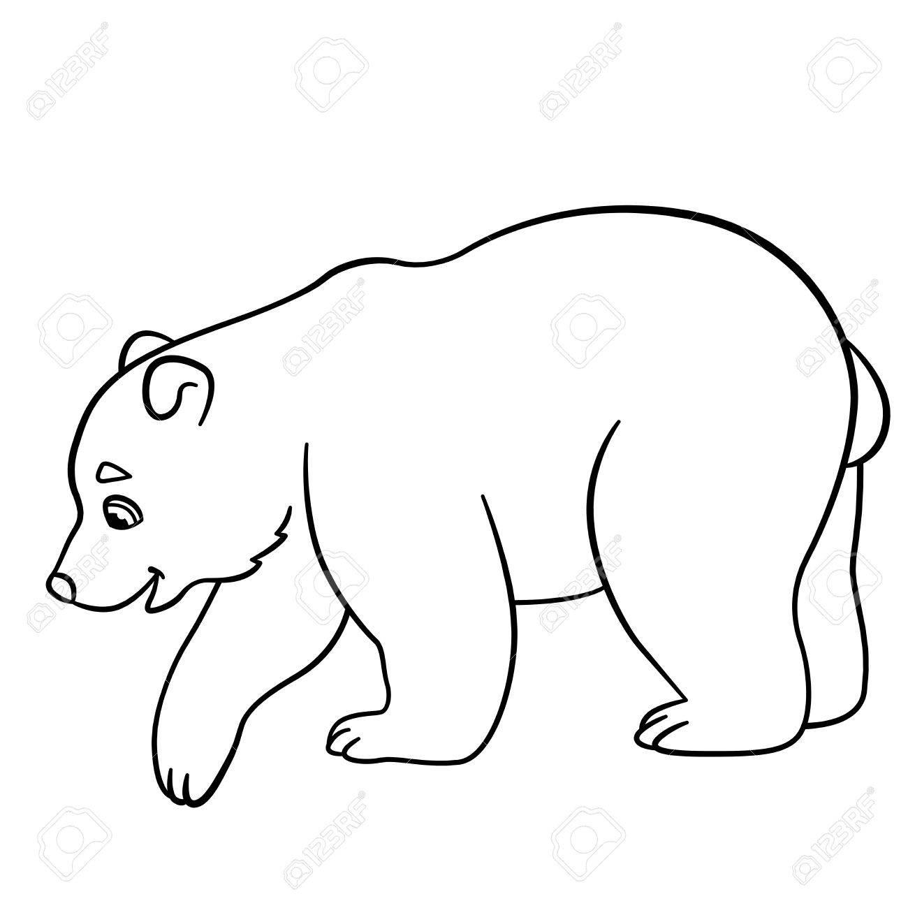Malvorlagen. Kleine Süße Baby-Eisbär Steht Und Lächelt. Lizenzfrei ...