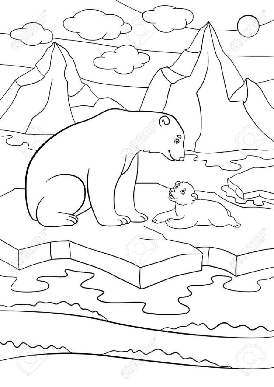 Páginas Para Colorear. Madre Del Oso Polar Se Sienta En El Témpano ...