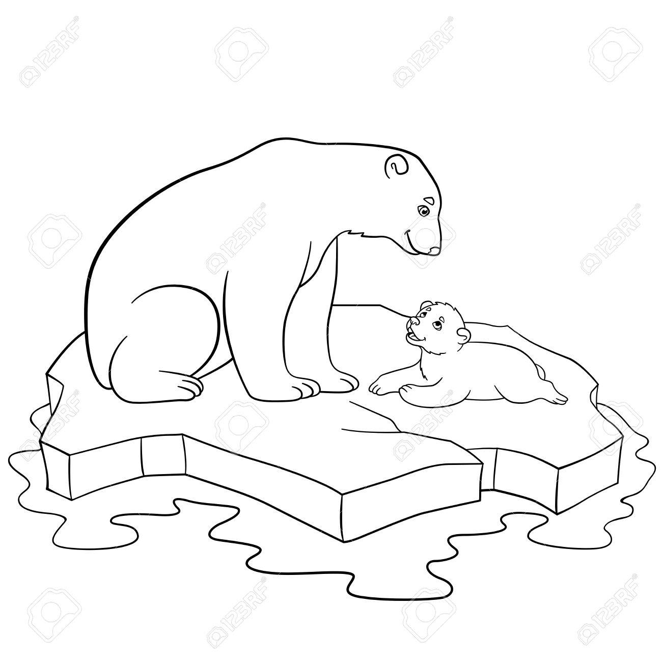 Coloring Pages. Mother Polar Bear Sits On The Ice-floe With Her ...
