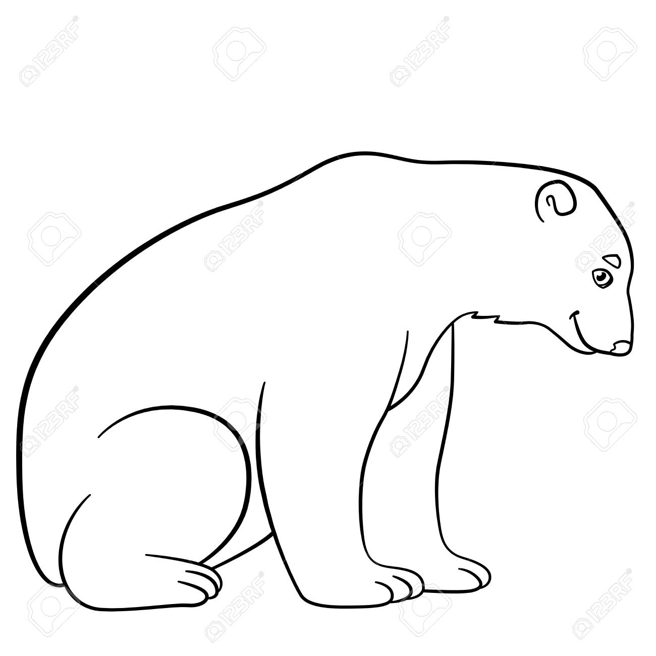 - Coloring Pages. Cute Polar Bear Sits And Smiles. Royalty Free