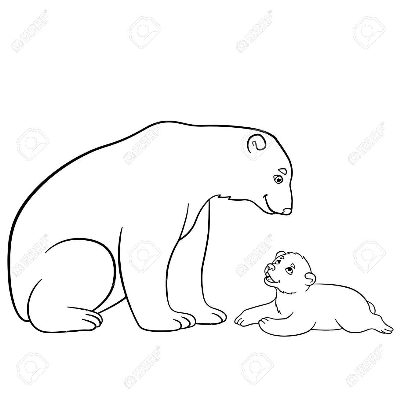 Coloriage Mere Ours Polaire Est Assis Avec Son Petit Bebe Et