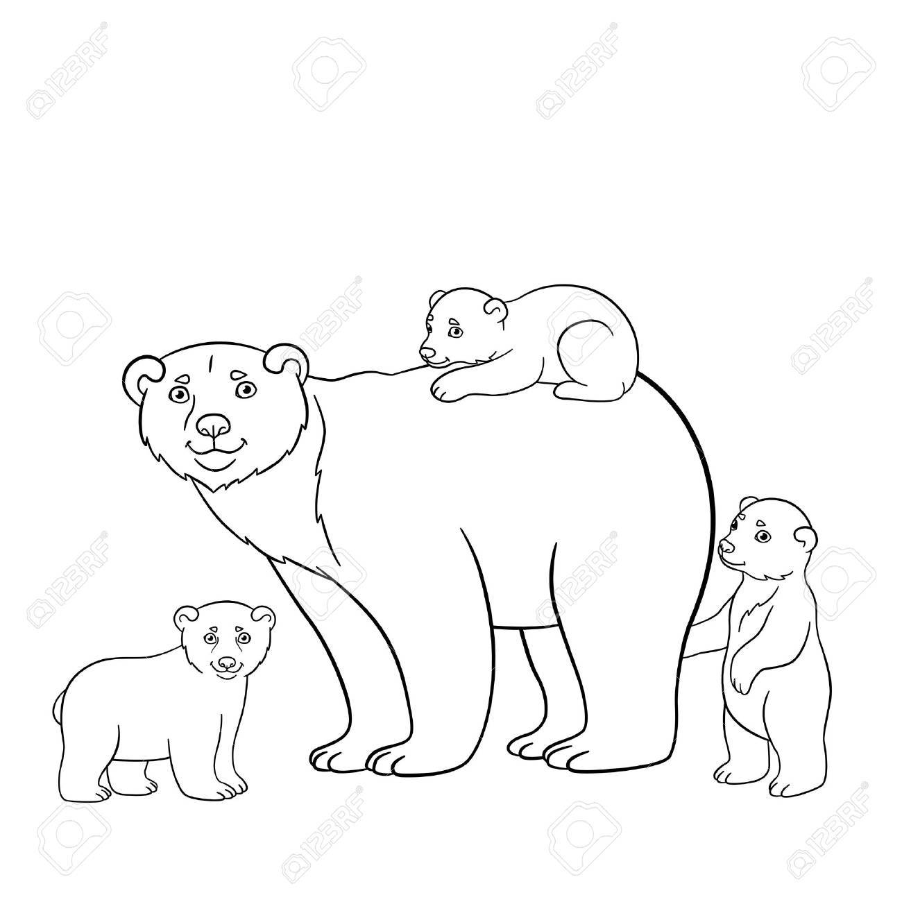 Coloring Pages. Mother Polar Bear Stands With Her Little Cute ...