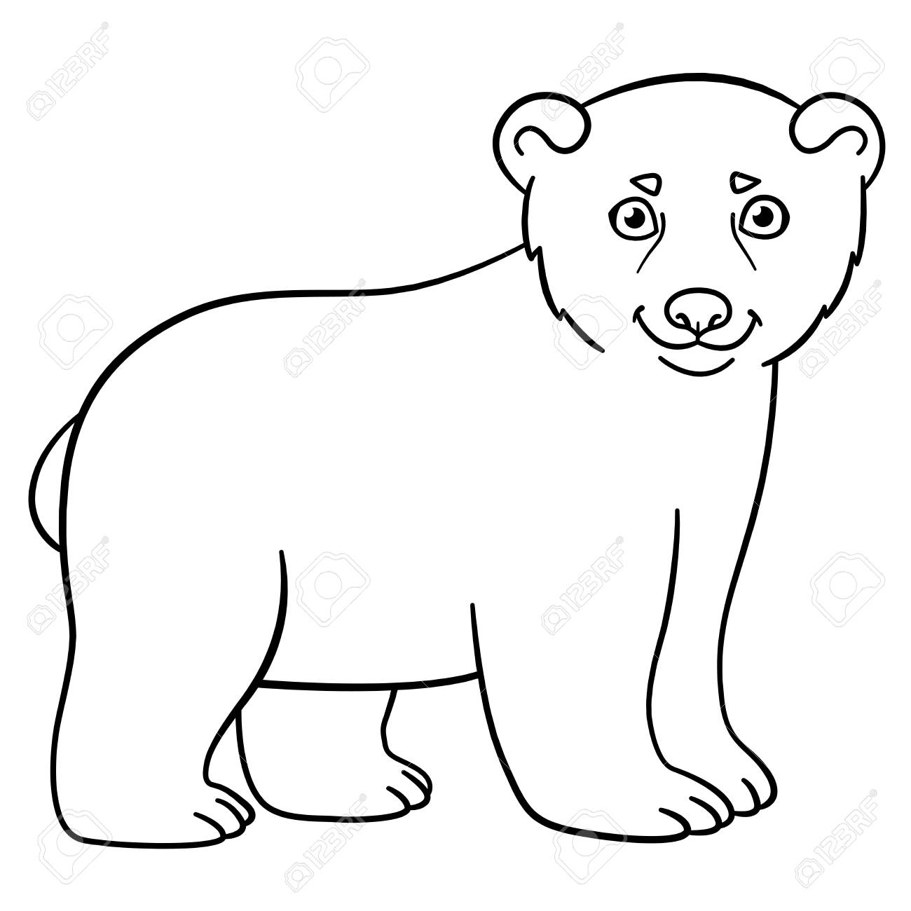 Coloring Pages. Little Cute Baby Polar Bear Smiles. Royalty Free ...