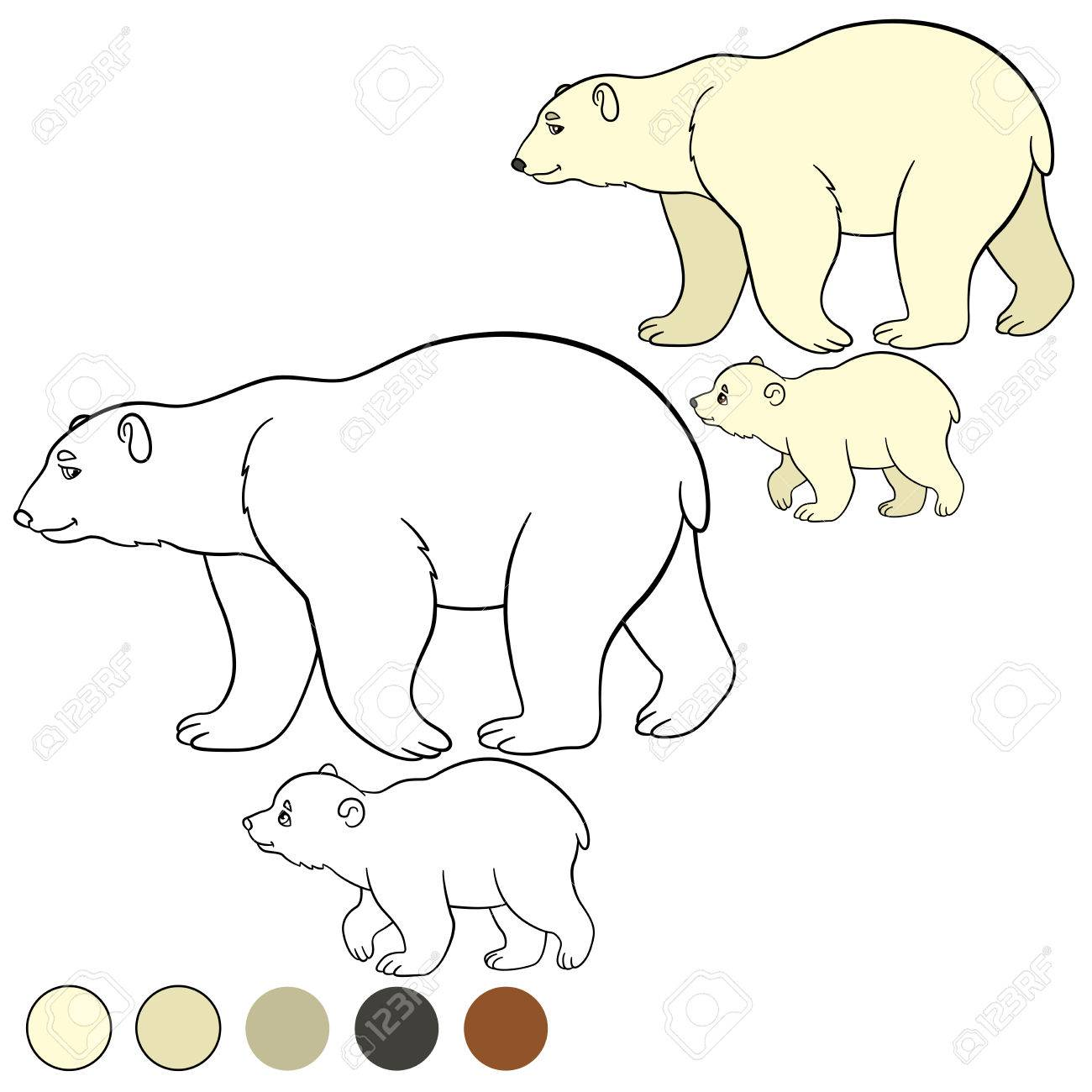 Coloring Page. Mother Polar Bear Walks With Her Little Cute Baby ...