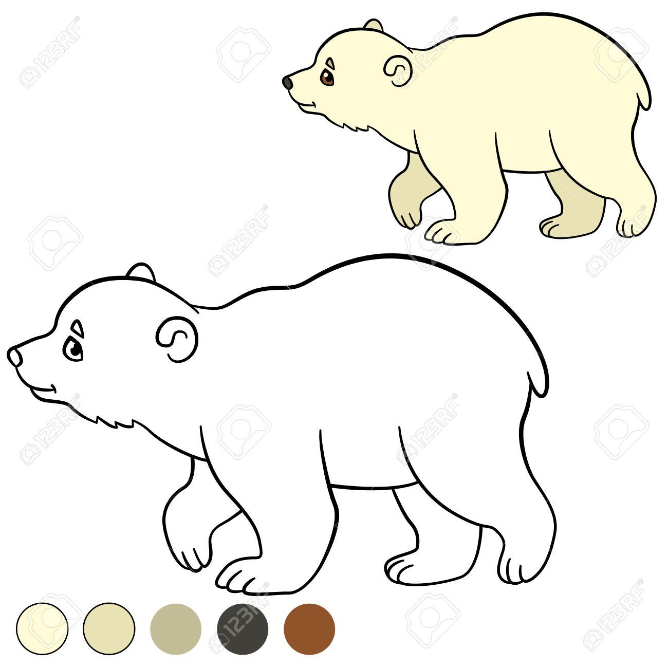 Dibujo Para Colorear. El Pequeño Oso Polar Lindo Bebé Camina Y ...