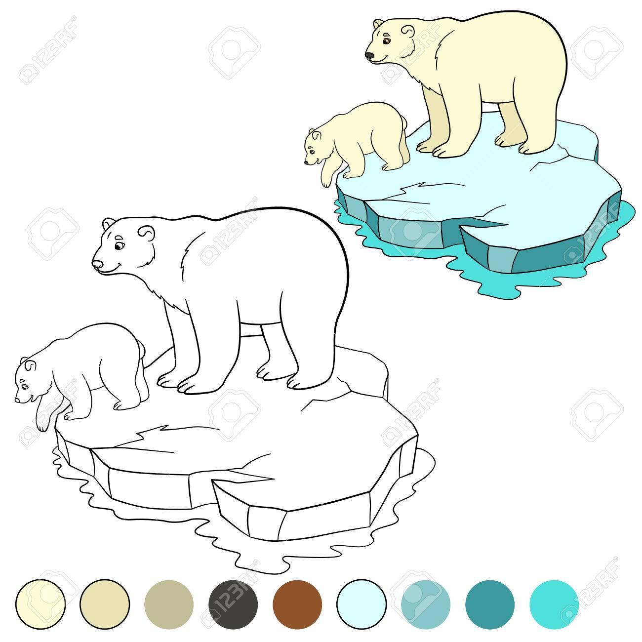 Dibujo Para Colorear. Madre Del Oso Polar Se Encuentra En El Témpano ...