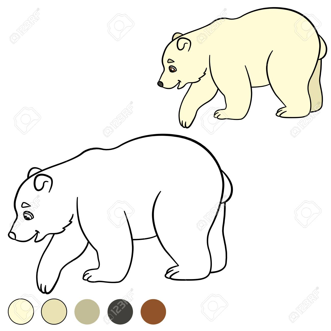 Página Para Colorear. El Pequeño Oso Polar Lindo Del Bebé Se Coloca ...