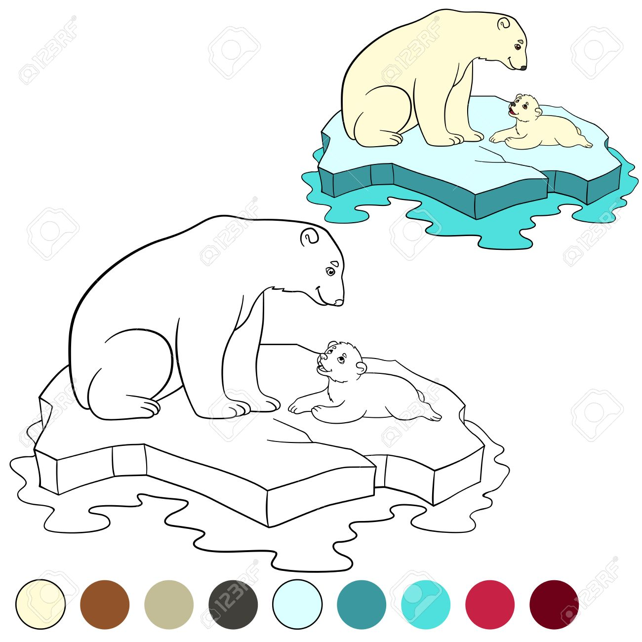 Dibujo Para Colorear. Madre Del Oso Polar Se Sienta En El Témpano De ...
