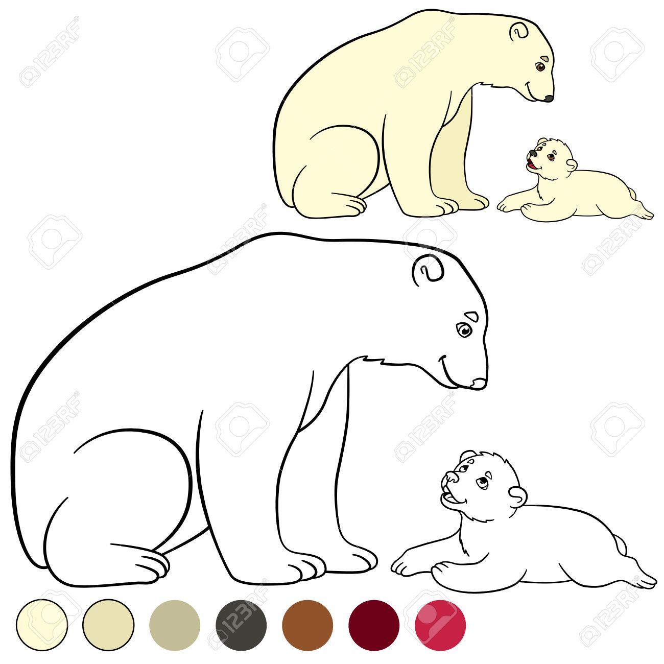 Dibujo Para Colorear. Madre Del Oso Polar Con Su Pequeño Bebé Lindo ...