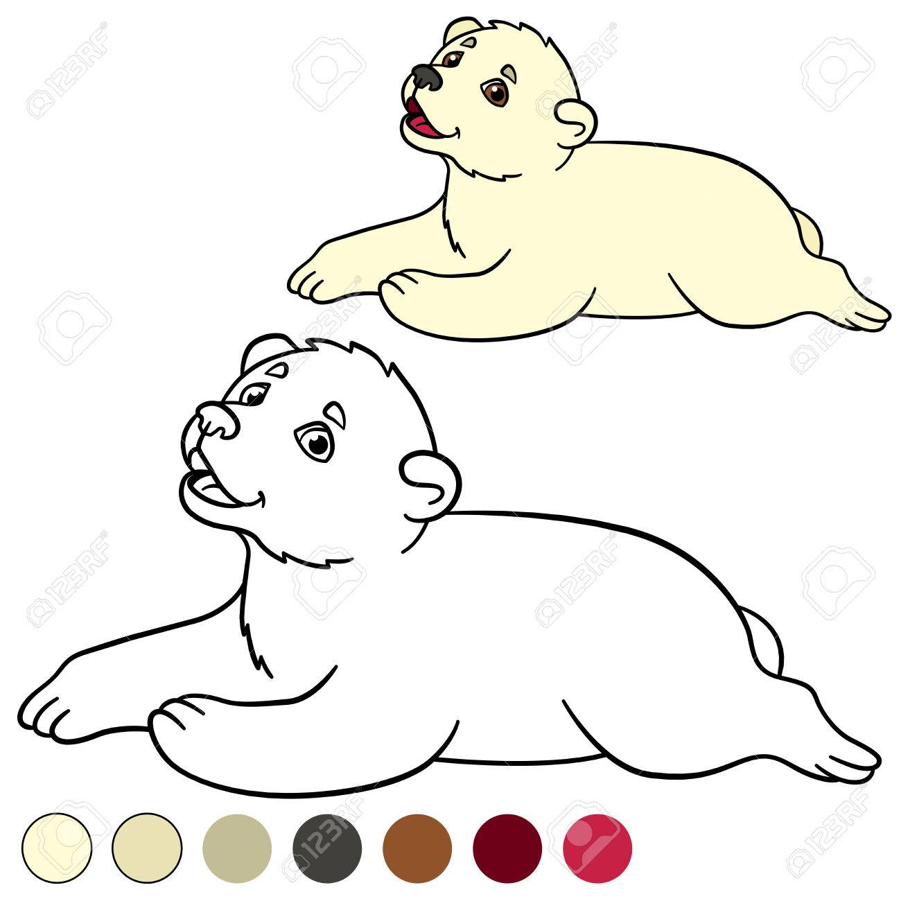 Dibujo Para Colorear. Sonrisitas Del Oso Polar Del Bebé Lindo ...