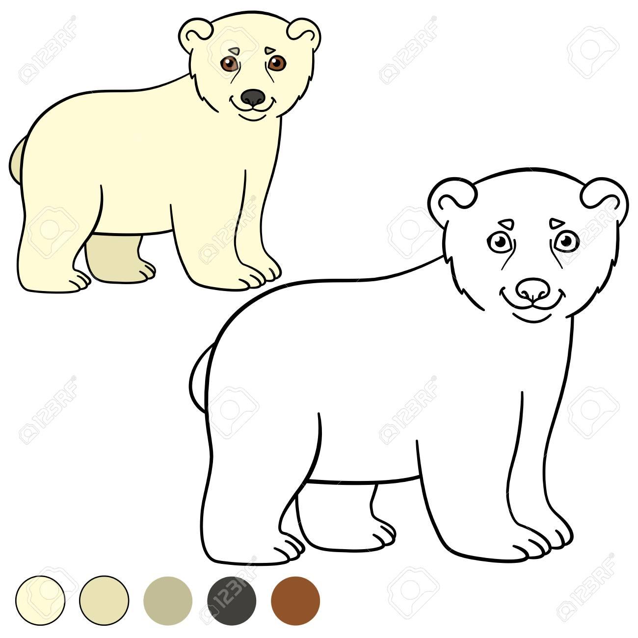 Dibujo Para Colorear Sonrisitas Del Oso Polar Del Bebe Lindo