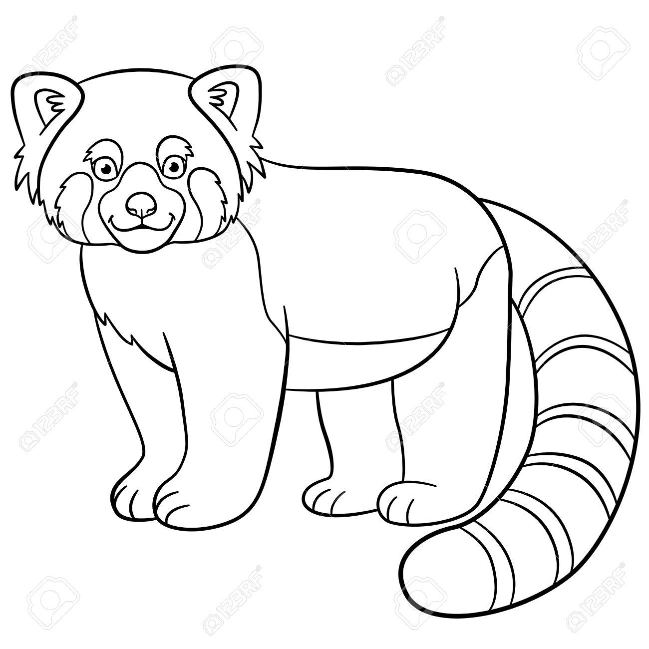 Páginas Para Colorear. Pequeños Lindo Se Encuentra Panda Rojo Y ...
