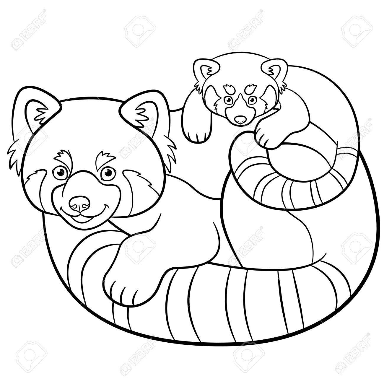 Páginas Para Colorear. Madre Panda Rojo Con Su Bebé Lindo ...