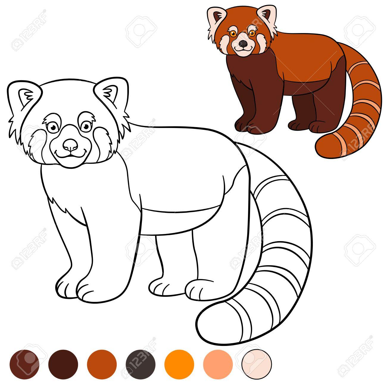 Dibujo Para Colorear: Panda Rojo. Pequeños Lindo Se Encuentra Panda ...