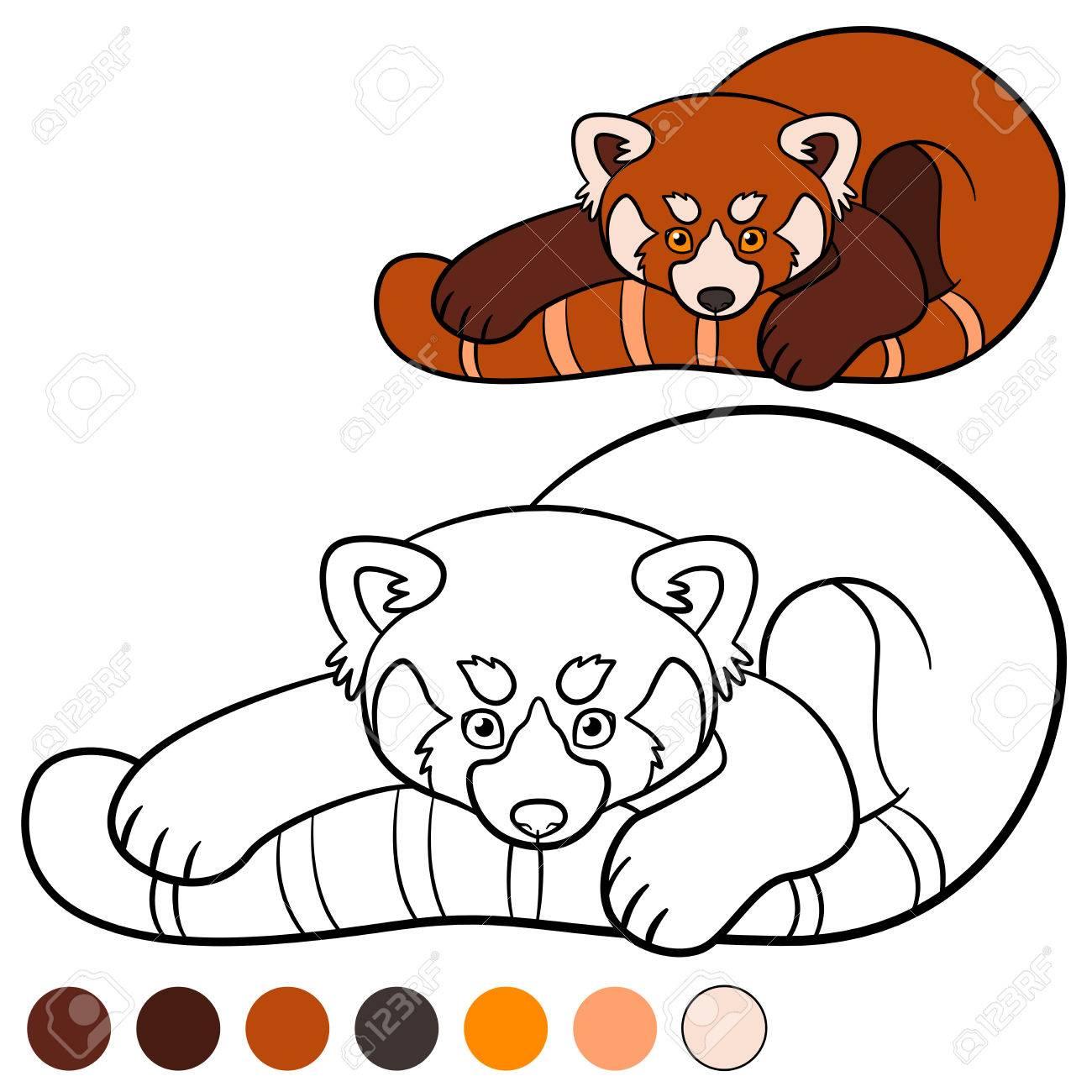 Malvorlage: Roter Panda. Kleine Süße Rote Panda Mit Schönen Schwanz ...
