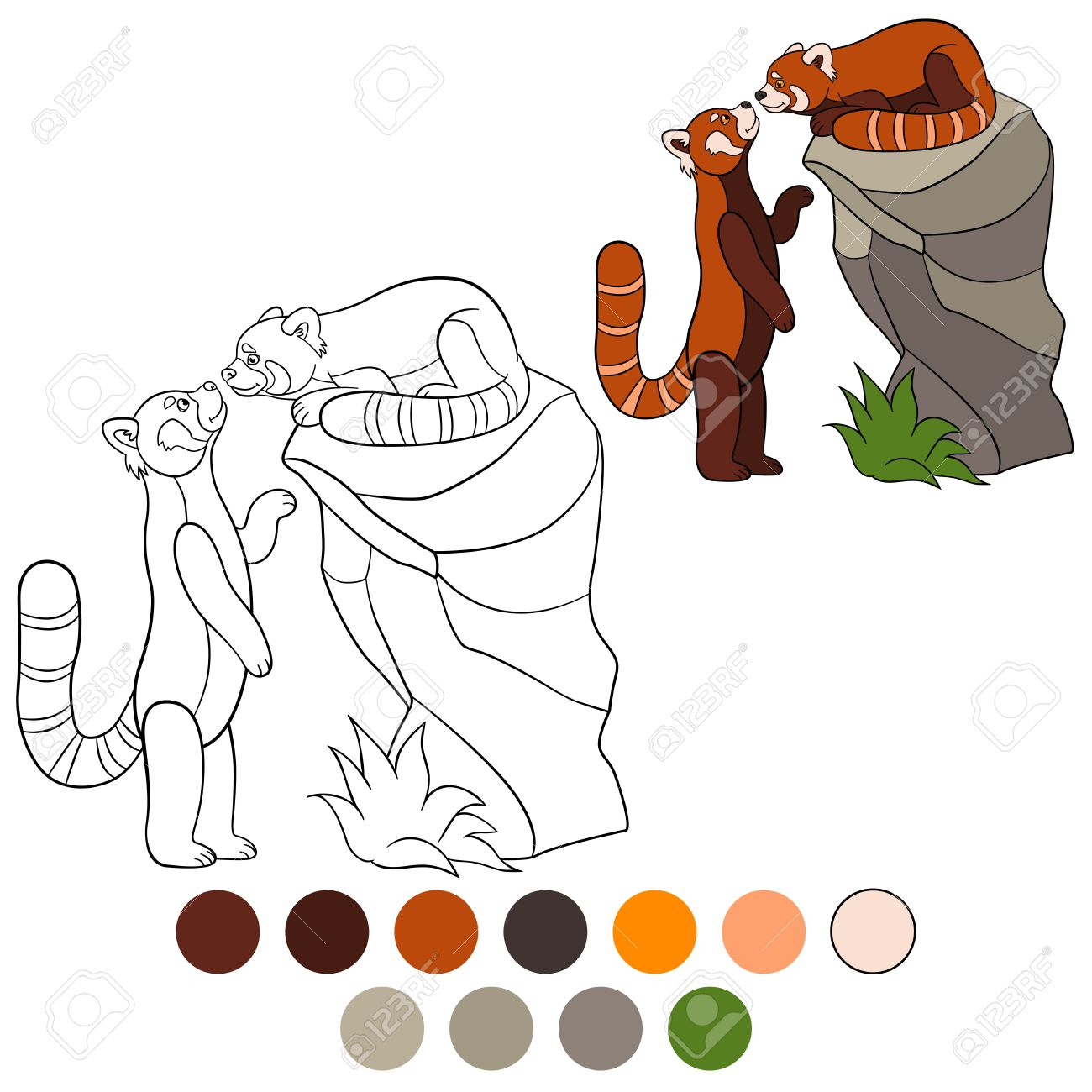 Dibujo Para Colorear Panda Rojo Dos Pequeños Osos Panda Lindo Rojo Sonrisa
