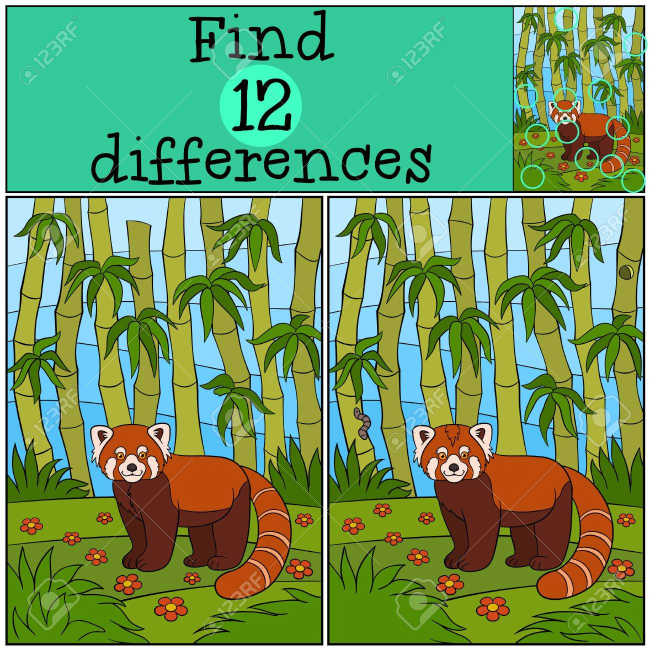 educational game find differences little cute red panda stands