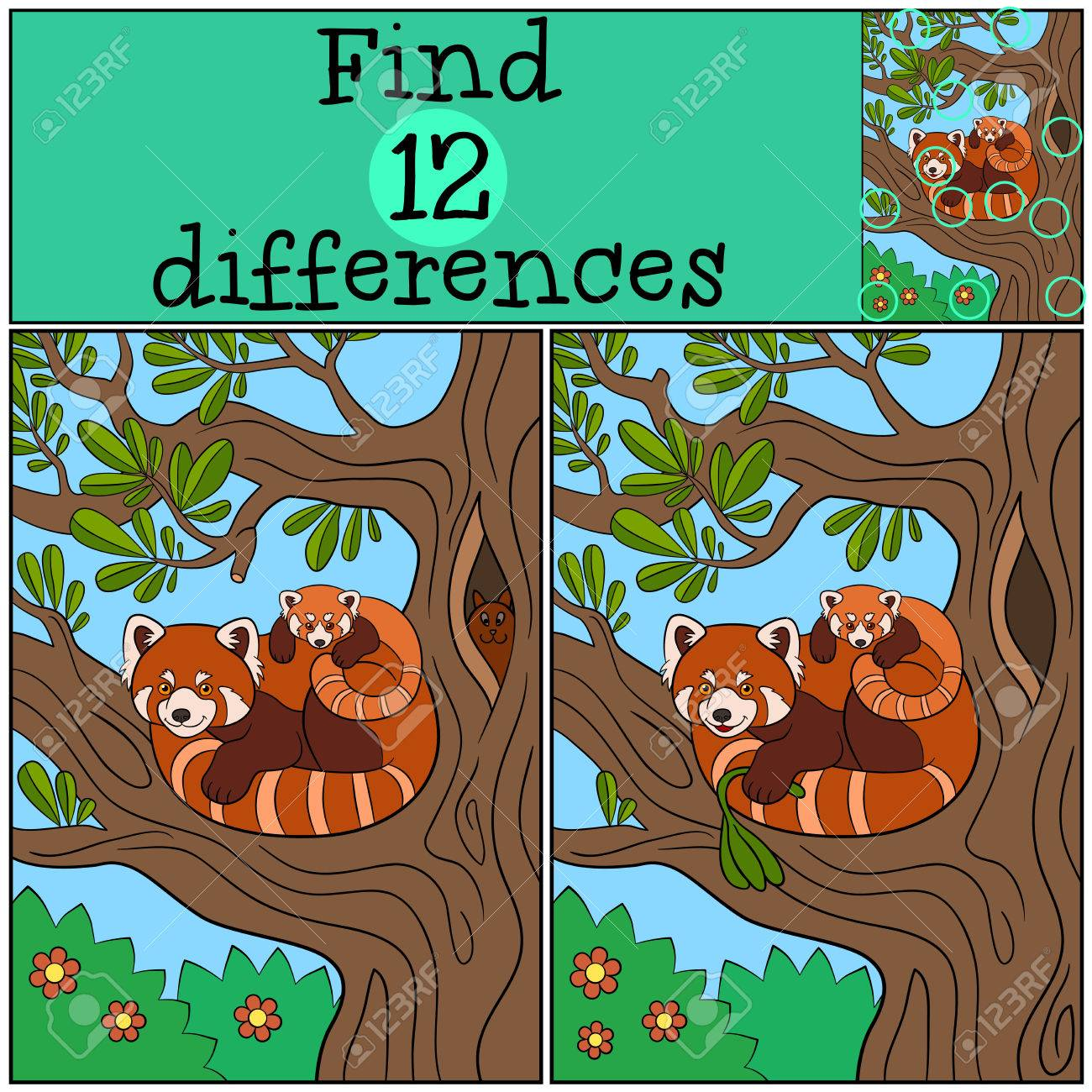 Educational Game Find Differences Mother Red Panda With Her Royalty Free Cliparts Vectors And Stock Illustration Image 63050921