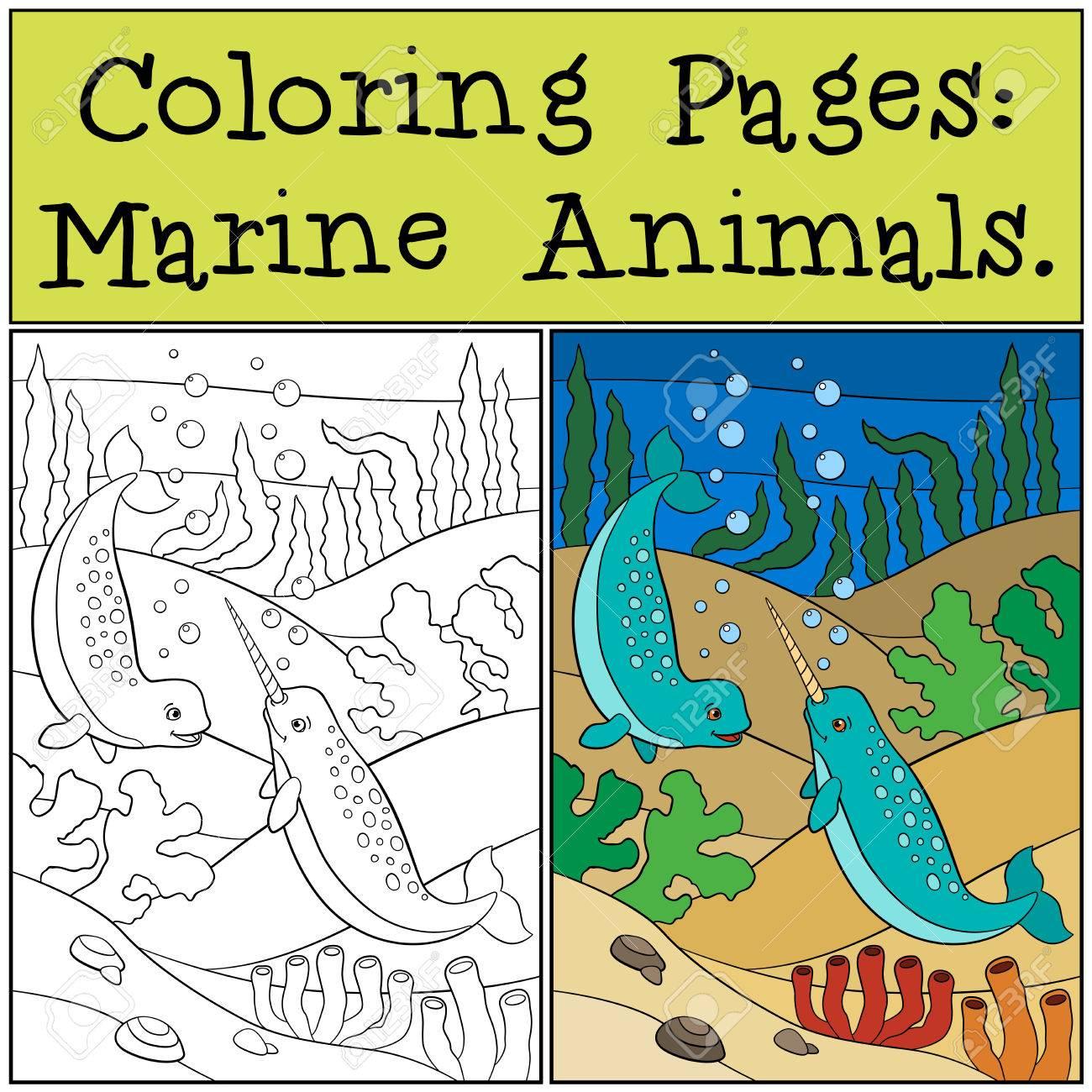 Páginas Para Colorear: Animales Marinos. Dos Pequeños Narvales ...