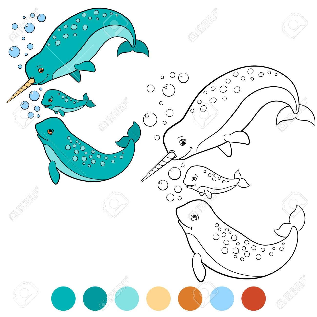 Malvorlagen: Narwal. Mutter, Vater Und Baby Narwale Schwimmen Und ...