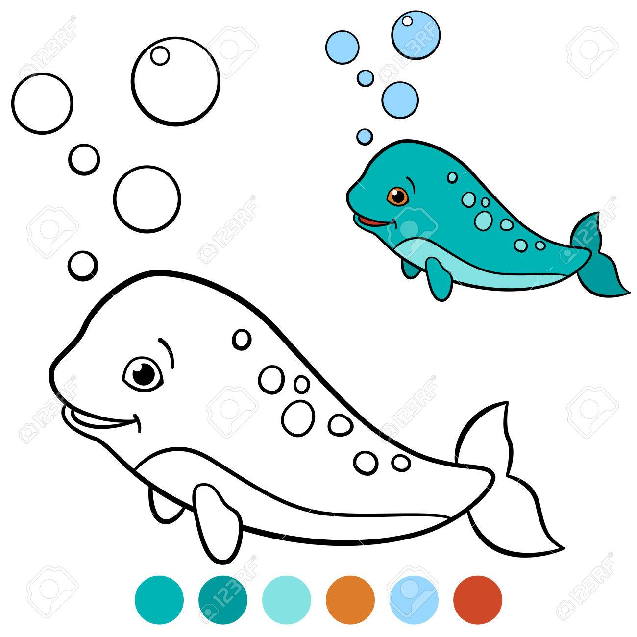 Coloring Pages: Narwhal. Little Cute Baby Narhwal Swims And Smiles ...