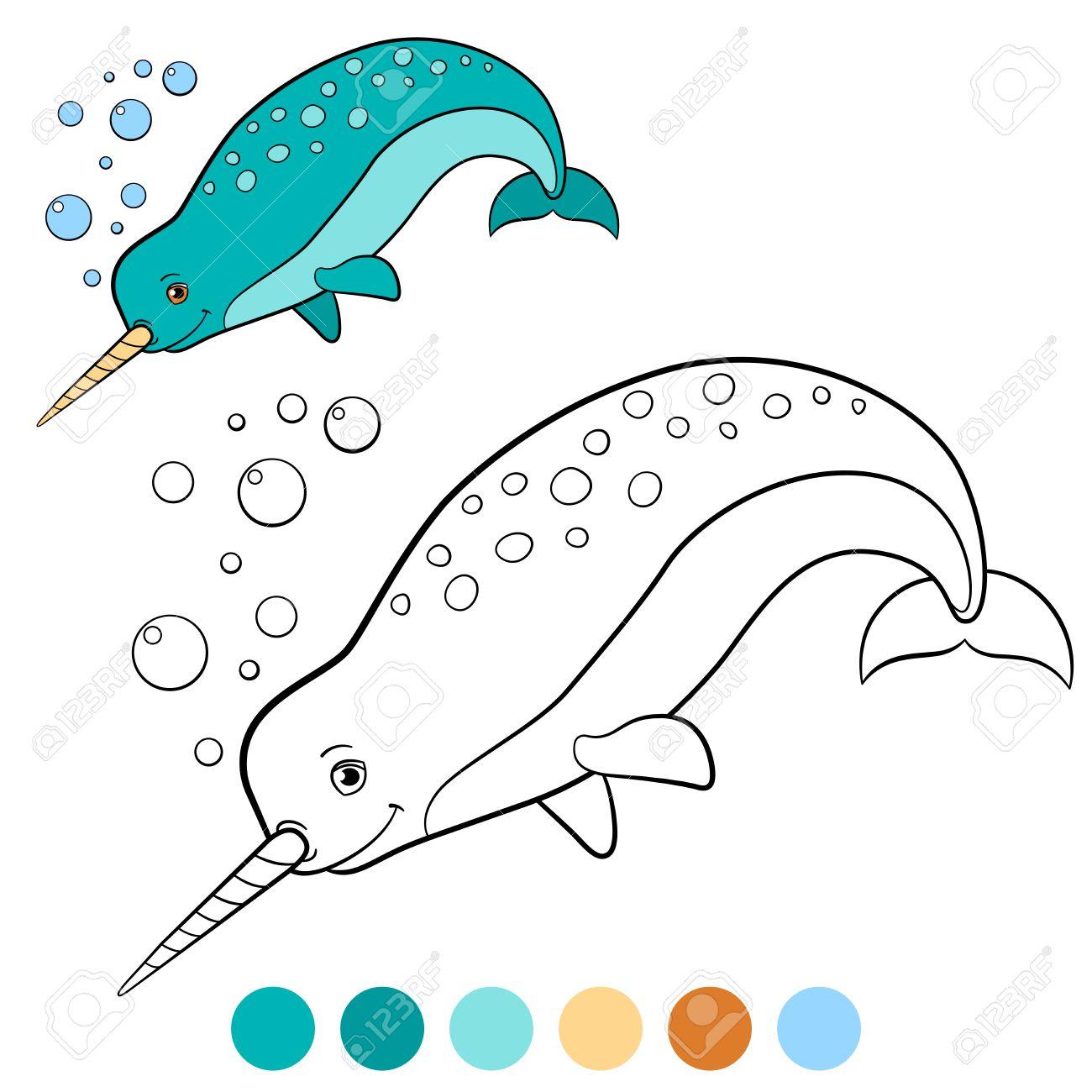 Malvorlagen: Narwal. Kleiner Netter Narwal Schwimmt Und Lächelt ...