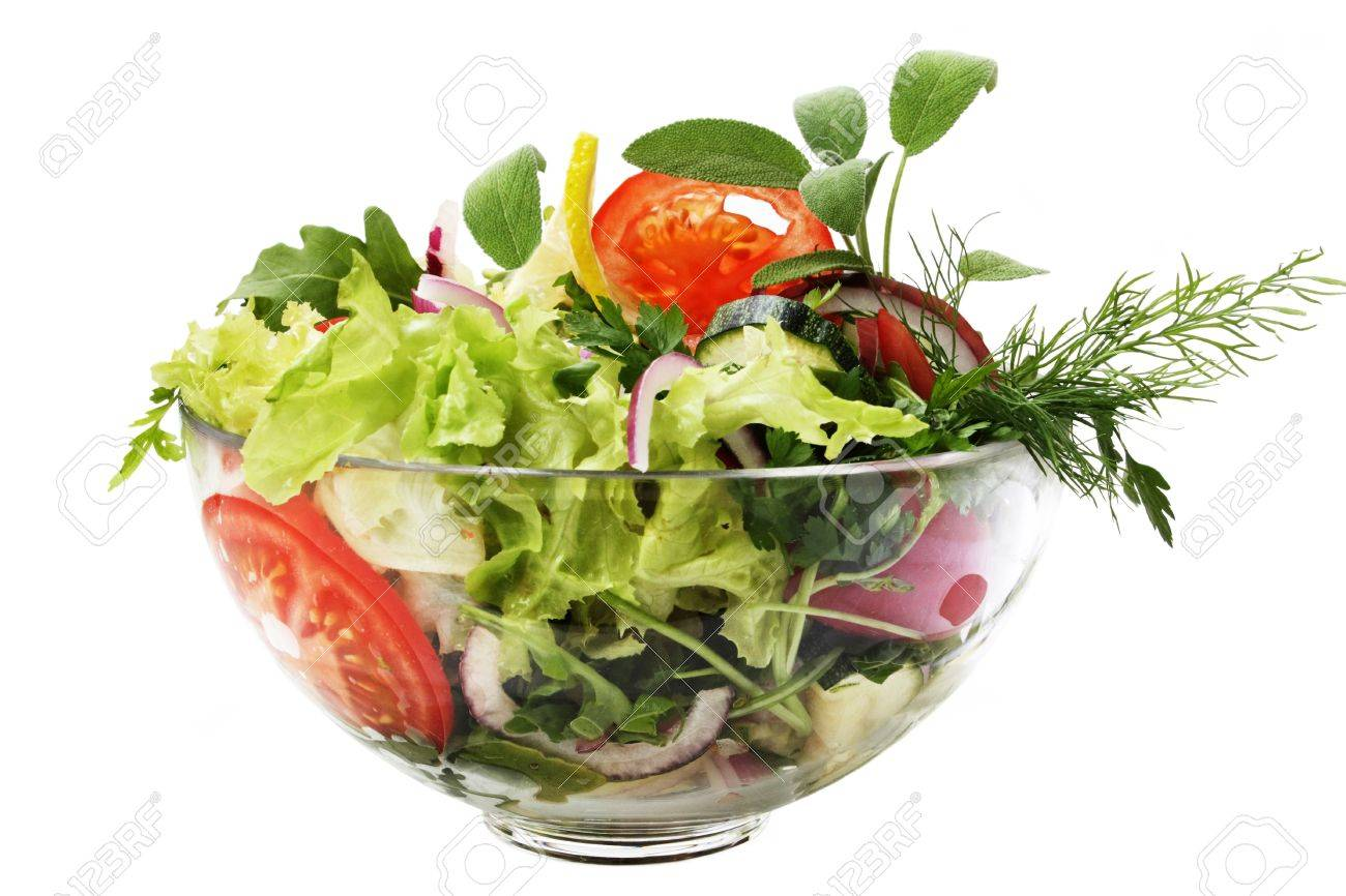 Fresh Garden Salad In A Bowl Isolated On White Background