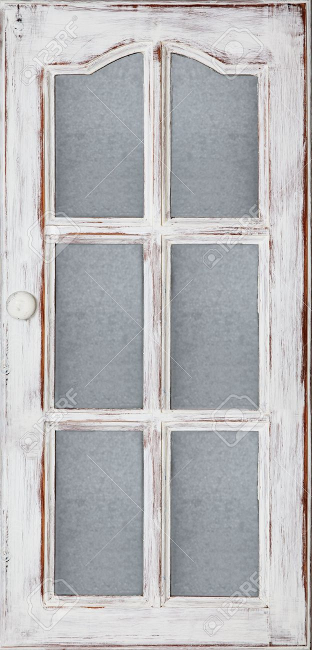 An Old Wood Door Panel With Glass White Paint And Grunge Full