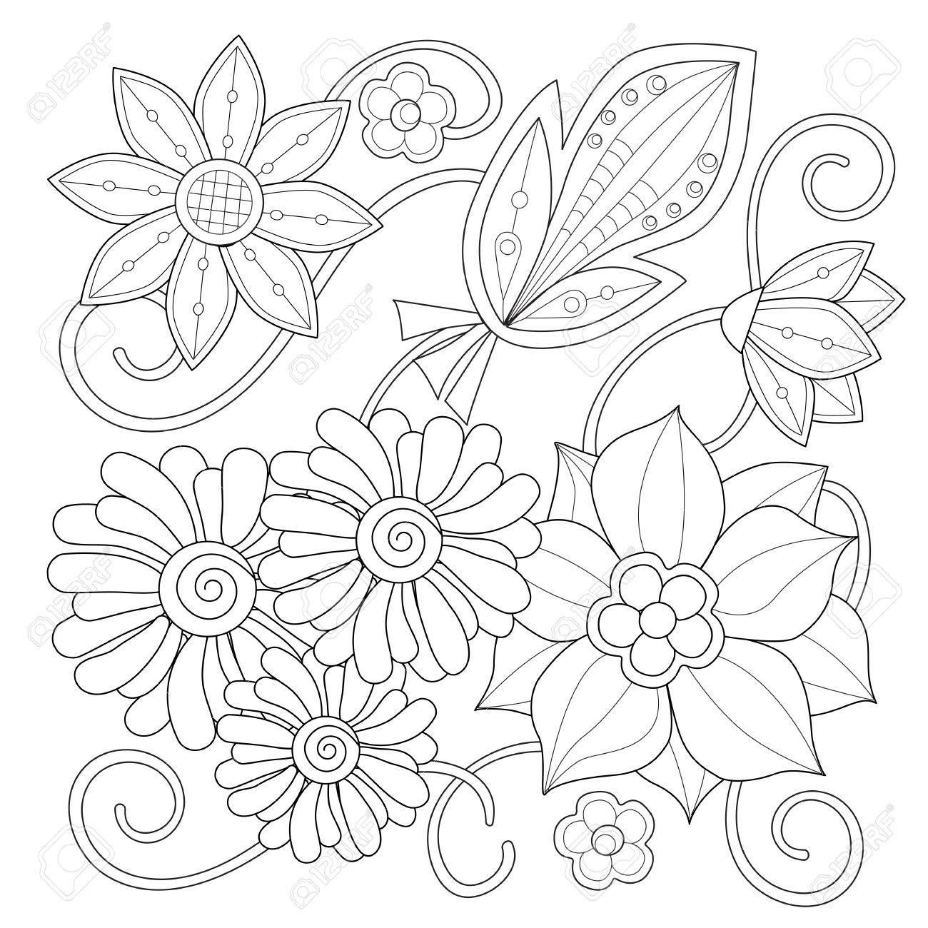 Lujoso Páginas Para Colorear Con Flores Composición - Dibujos Para ...