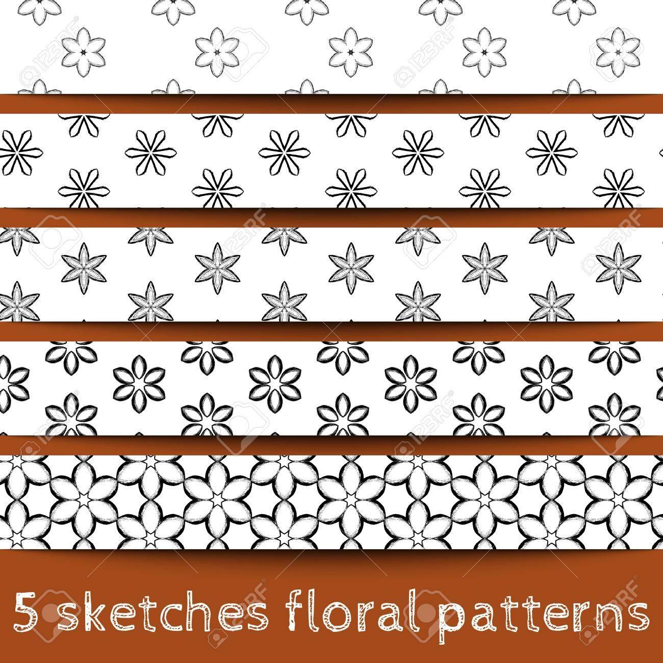 Set of sketches floral patterns. Sketched flower. Sketchy illustration. Sketchy background. Hand drawn. Vector, format eps10 Stock Vector - 16213135