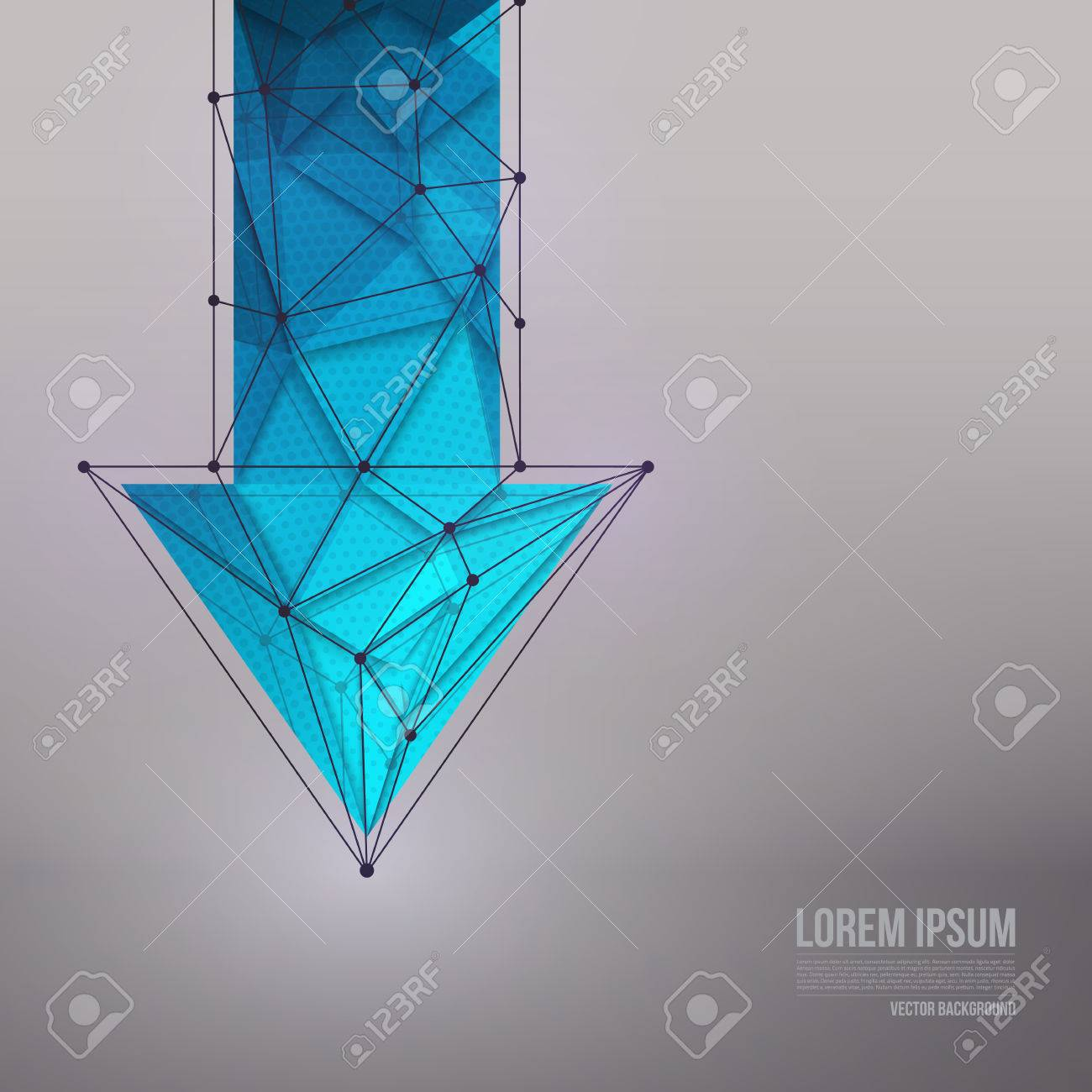 Abstract 3d vector technology blue arrow with wireframe structure background. Vector digital background for web applications business. Abstract vector wallpaper. Science abstract vector background - 40621816