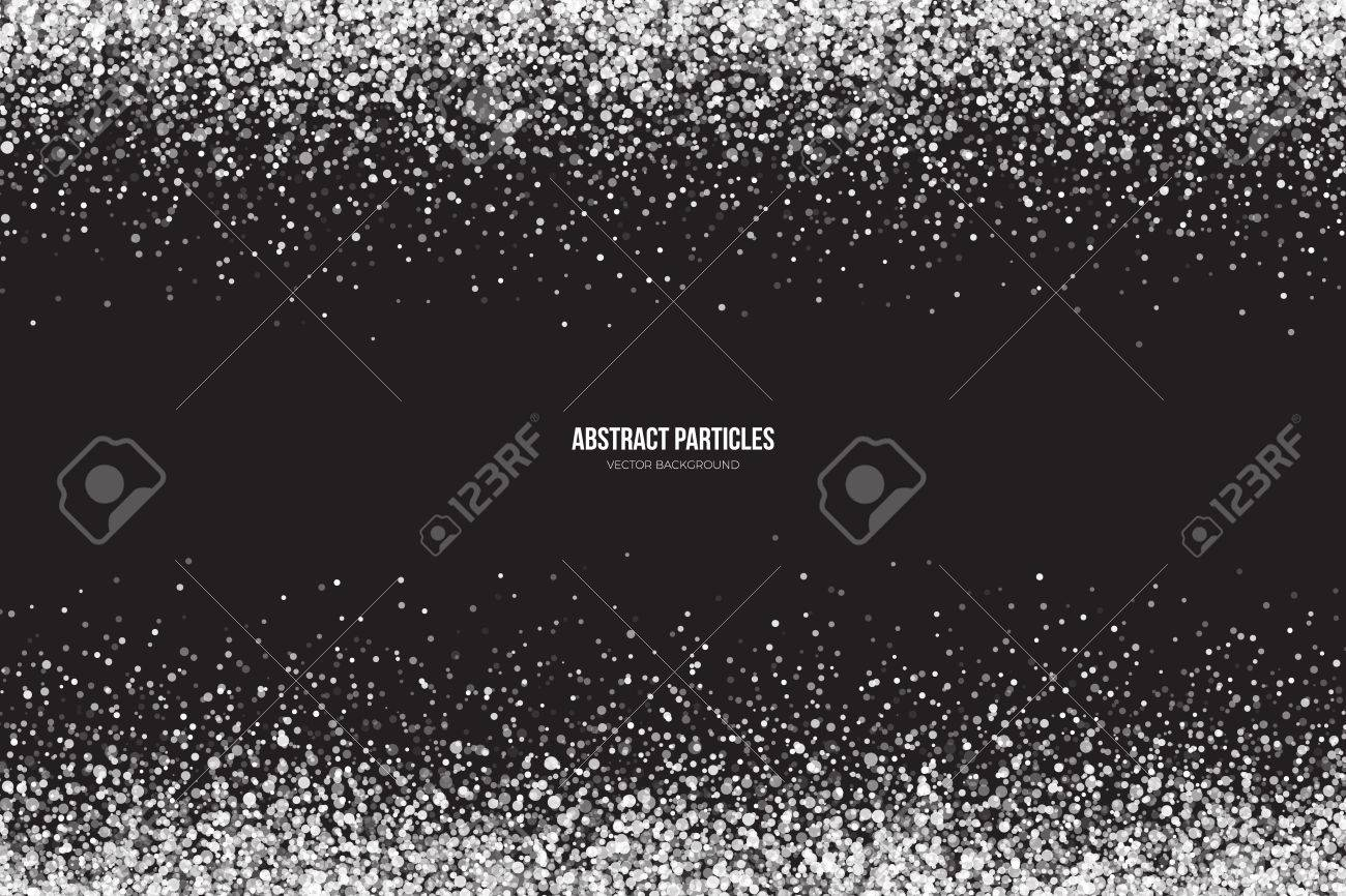 Abstract bright white shimmer glowing round particles vector background. Snowfall effect. Falling scatter shine tinsel light explosion. Celebration, holidays and party illustration - 61247359