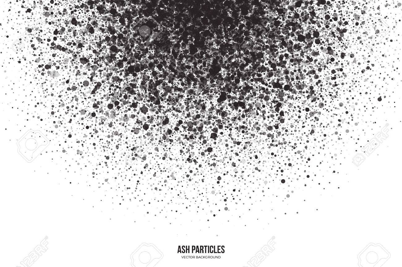 Abstract vector dark gray round ash particles on white background. Spray effect. Scatter falling black drops. Hand made grunge texture - 61248872