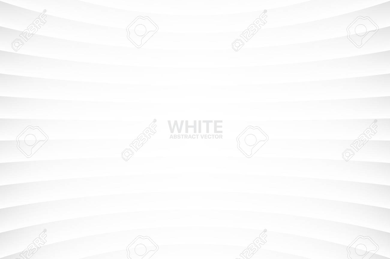 White Clear Blank Subtle Abstract Vector Geometrical Background. Monotone Light Empty Concave Surface. Minimalist Style Wallpaper. Futuristic 3D Illustration - 109821152