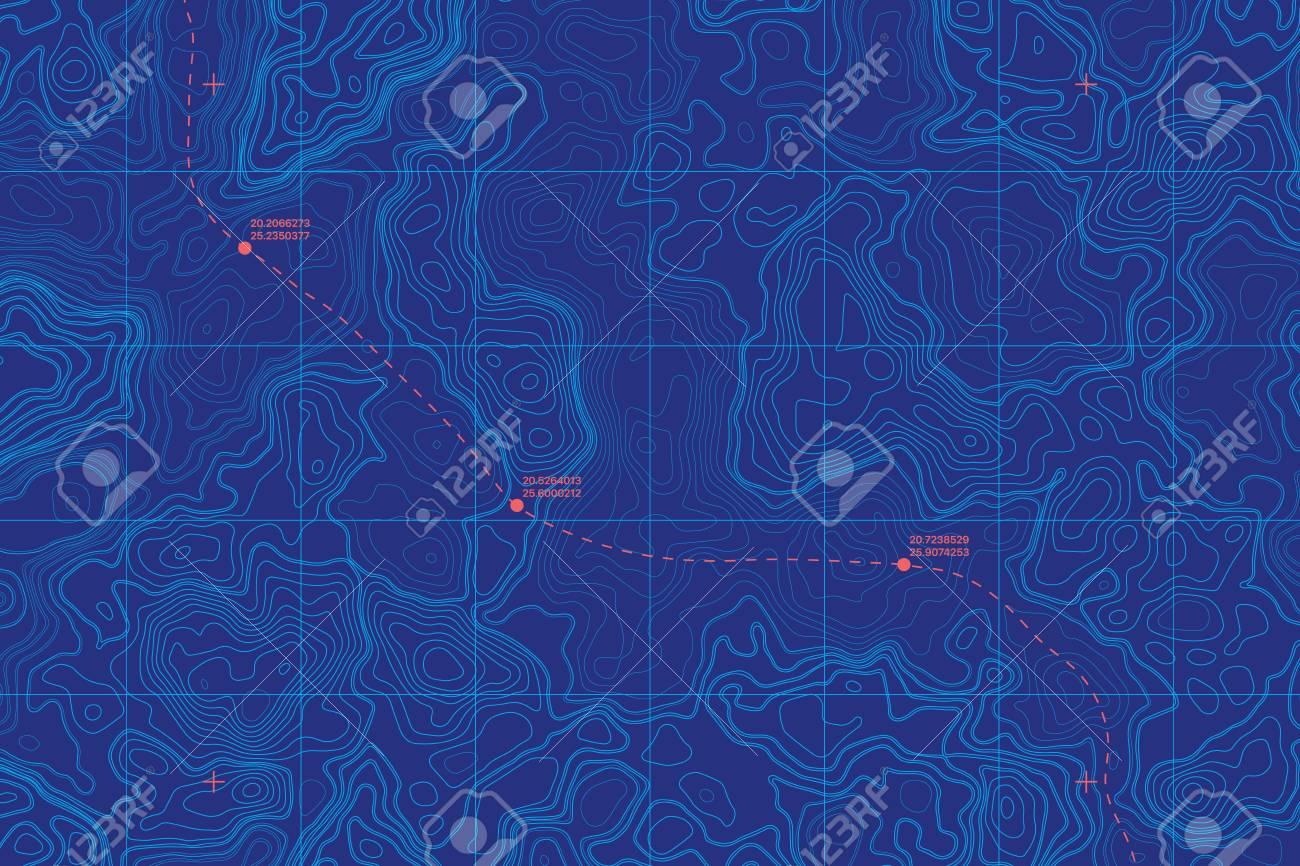 Conceptual Vector Sea Depth Topographic Map - 122319811