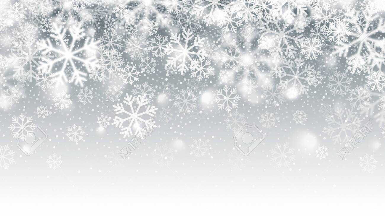 Blurred Motion Falling Snow 3D Effect With Realistic Vector White Snowflakes On Light Silver Background. Merry Christmas And Happy New Year Winter Season Holidays Abstract Illustration - 138102795