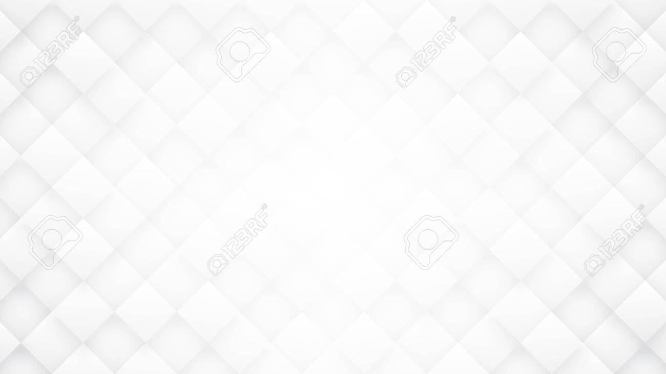 Render 3D Rhombus Blocks Grid Technology Minimalist White Abstract Background. Science Tech Conceptual Light Wide Wallpaper Ultra Definition Quality. Three Dimensional Clear Blank Textured Backdrop - 147860332