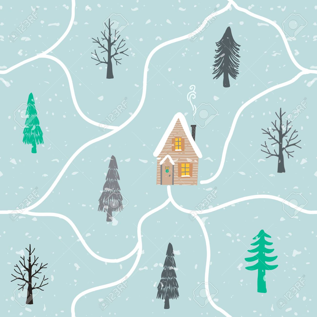 Seamless Winter Hand Drawn Pattern With Snow Christmas Trees Royalty Free Cliparts Vectors And Stock Illustration Image 127732166
