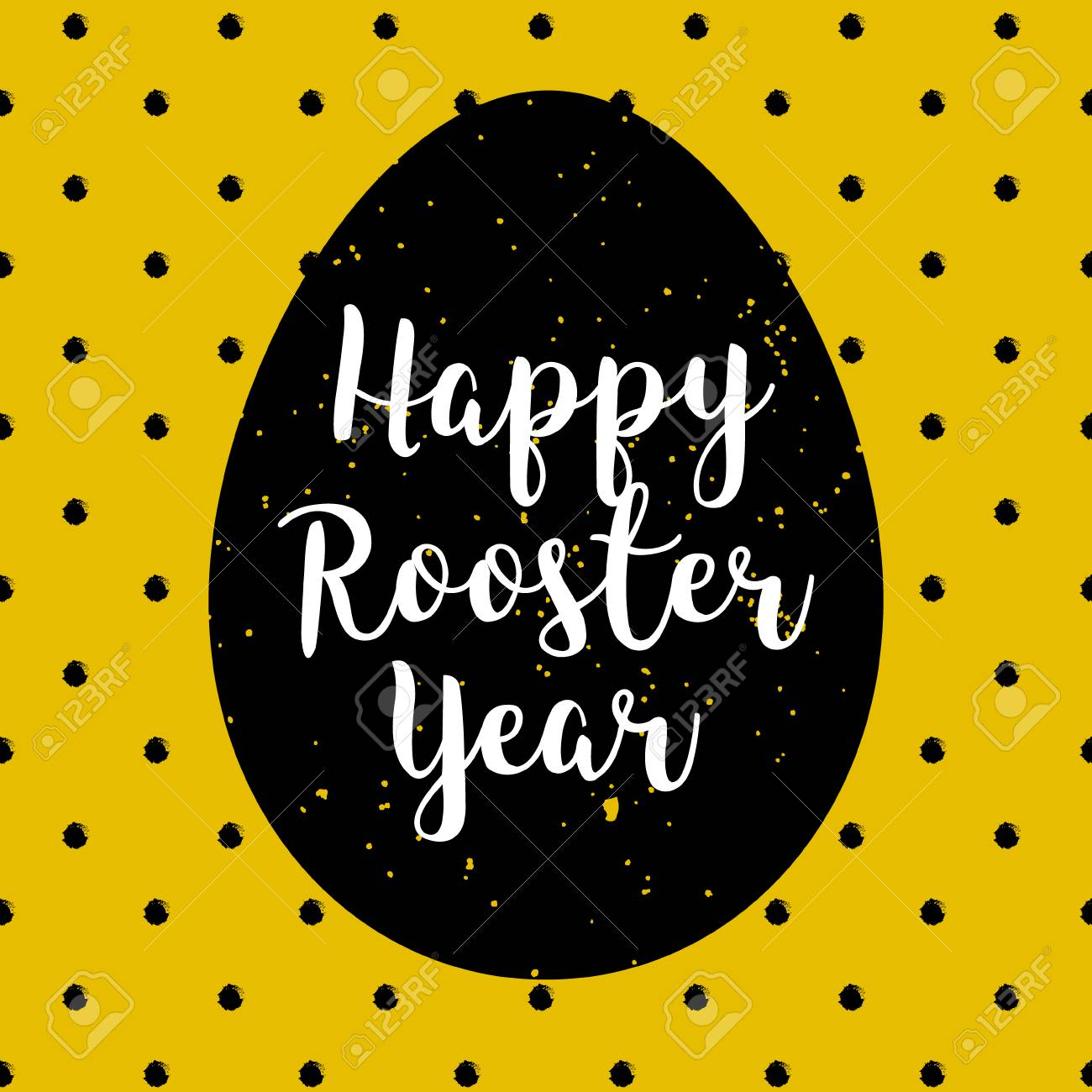Happy Rooster Year polka dot card with silhouette of egg. Lettering style with calligraphic text