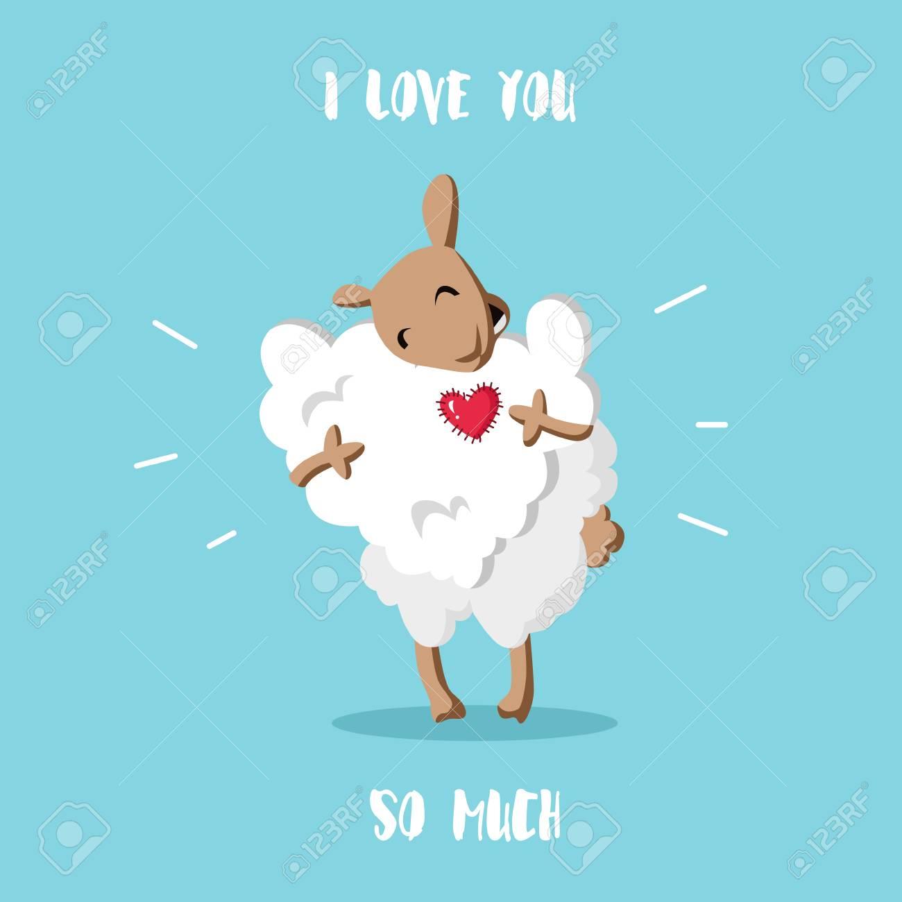 Bonne Carte De Saint Valentin Mouton Drole Avec Un Nuage En Forme