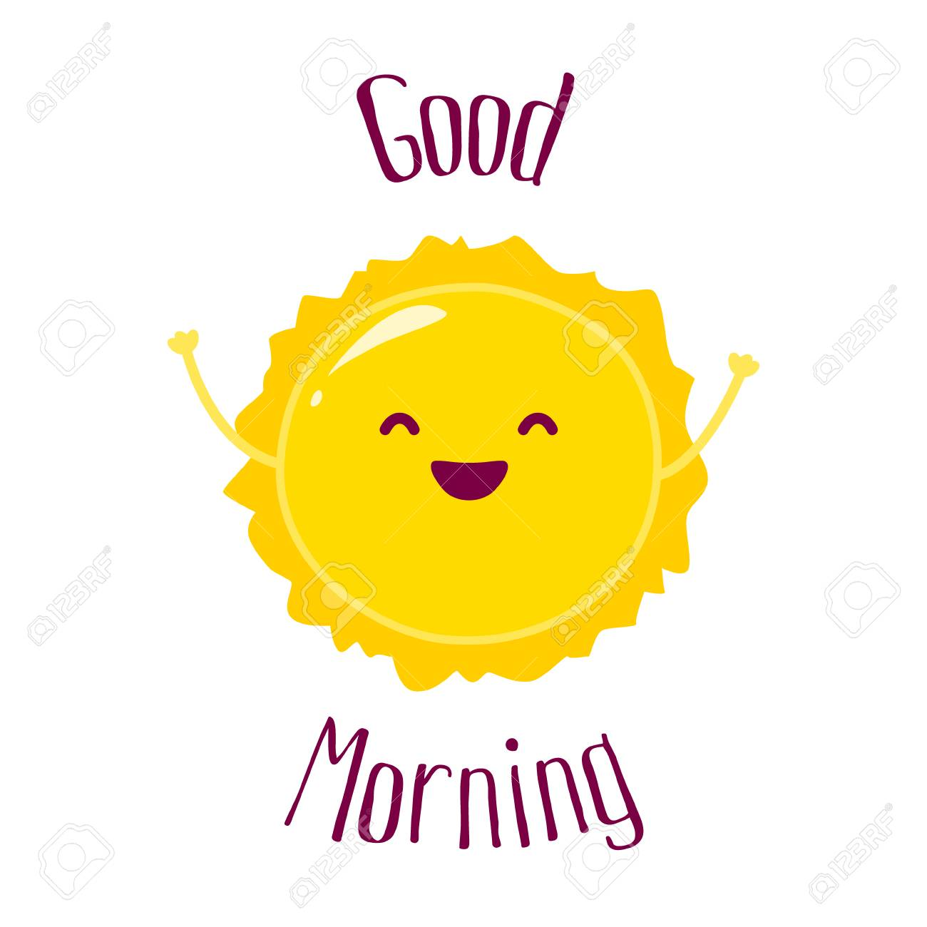 Funny Cartoon Sun Raises Hands Up And Smiles Good Morning Card