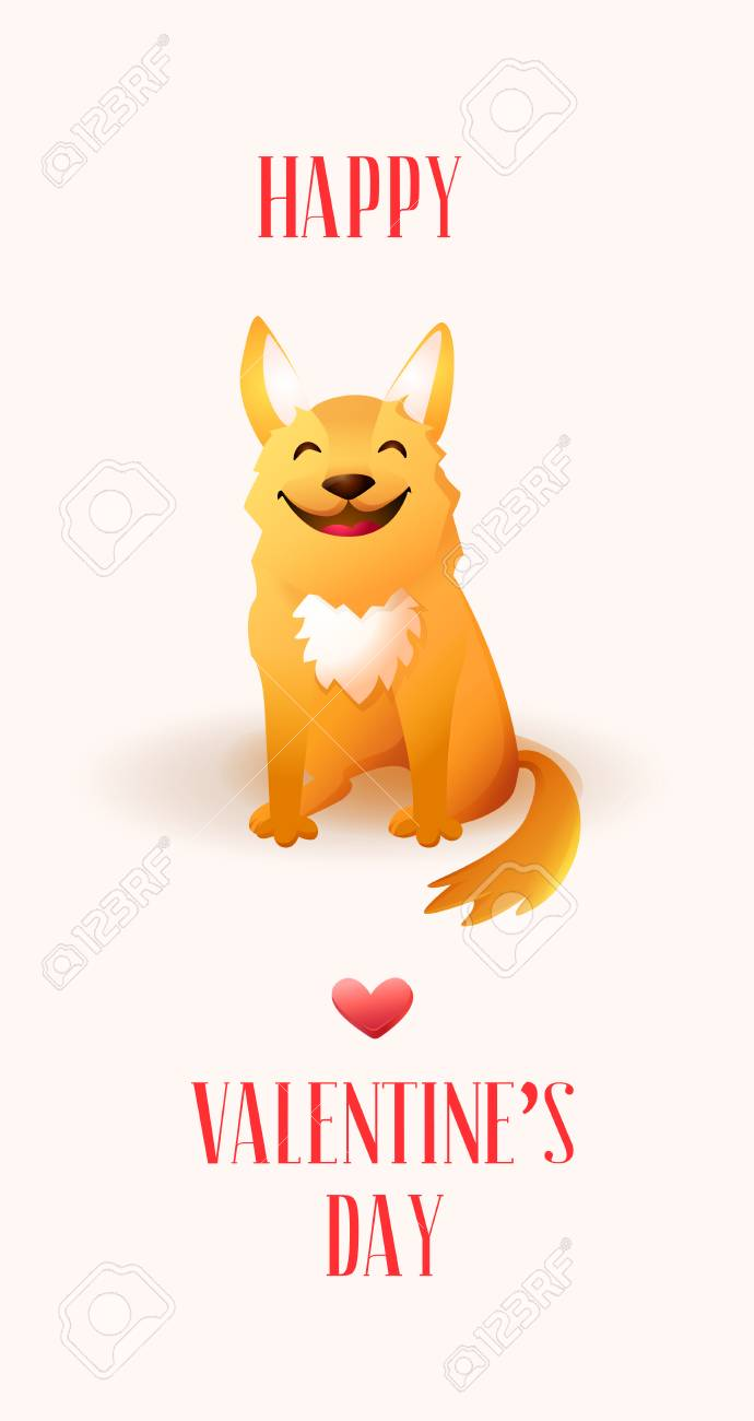 happy valentines day card with cute orange dog stock vector 94310285 - Dog Valentines Day Cards