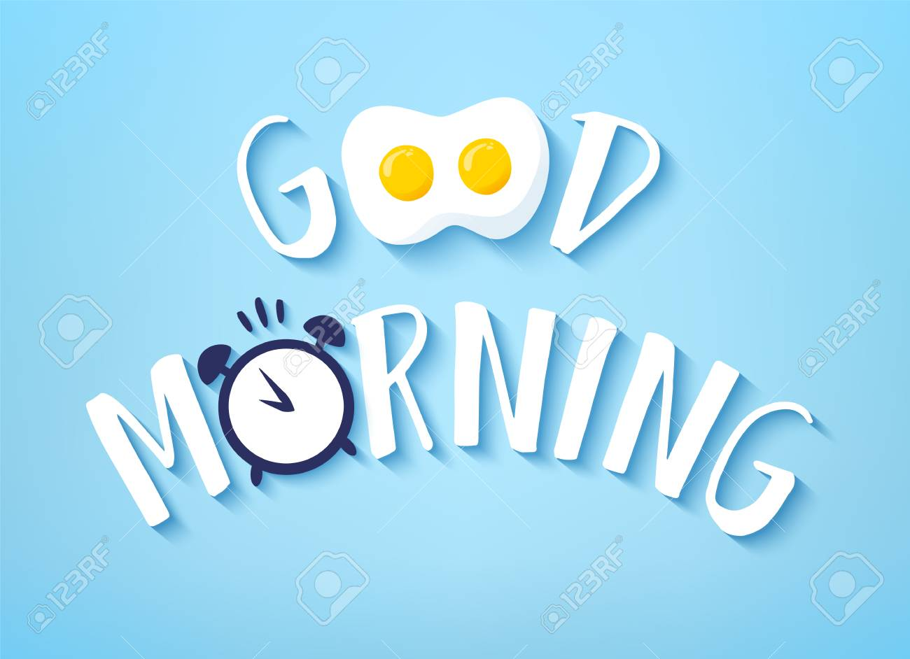 Vector banner for Breakfast with text Good Morning, fried egg and alarm clock on blue background. - 99043954